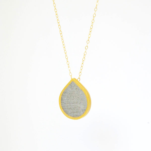 Drop Concrete Necklace, by BAARA Jewelry. Beautiful Necklace, Weather Jewelry, Gold Necklace, Classic Necklace, Cement Pendant
