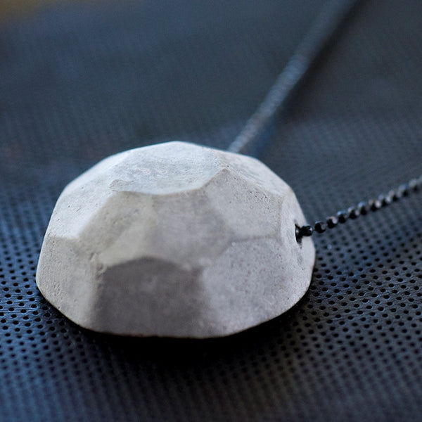 Gem Concrete Necklace, Gray Cement Handmade Pendant on an Oxidized Black Sterling Silver Delicate Chain. Unique Jewelry, by Emerging Designer Baara Guggenheim of BAARA Jewelry