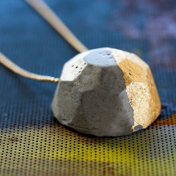 Concrete Gem Necklace by BAARA Jewelry, on a delicate goldfield chain, Contemporry Design, Urban Chic, One of a kind, Guilded Cement Handmade Pendant