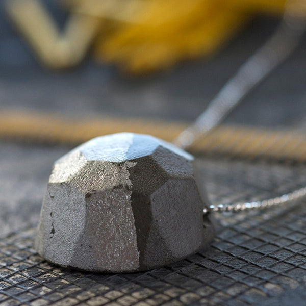 Gem Concrete Necklace by BAARA Jewelry, Handmade Silver and Cement Necklace, Industrial Jewellry, Handmade Neck Piece, Art Jewelry