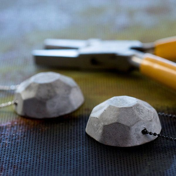 Gem Concrete Necklaces, Geometric Necklaces, Contemporary Jewlery, by BAARA Jewelry