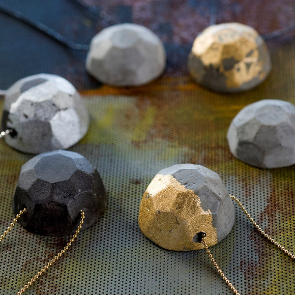 Concrete Gem Necklaces, BAARA Jewelry. Urban Jewelry, Statement Necklace, Short Cement Necklace