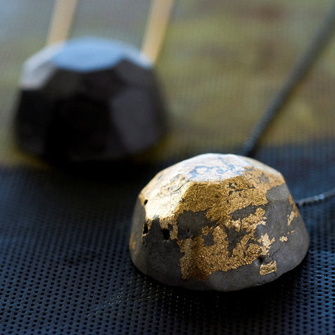 Geometric Concrete Gem Necklaces by BAARA Jewelry, Gold, Concrete and Black Necklace, Impressive Jewelry, Geometric Jewelry