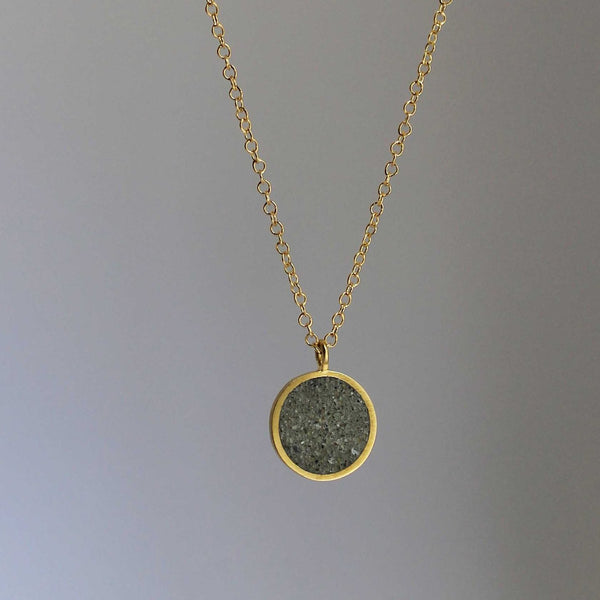 Round Gold and Concrete Necklace, by BAARA Jewelry. Layering necklace, silver necklace, delicate necklace, handmade jewelry
