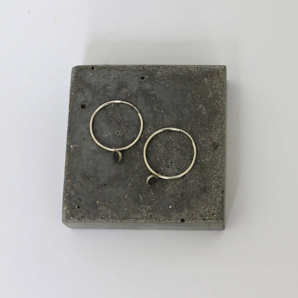 Concrete and silver earrings, hoop charm earrings, handmade earrings