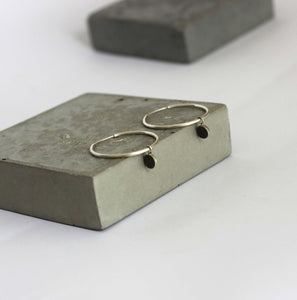concrete and silver earrings, Silver hoop earrings with circle charm, BAARA Jewelry
