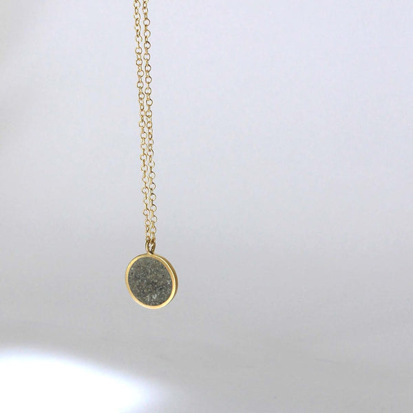 Round Gold and Concrete Necklace, by BAARA Jewelry. Layering necklace, silver necklace, delicate necklace, concrete jewelry