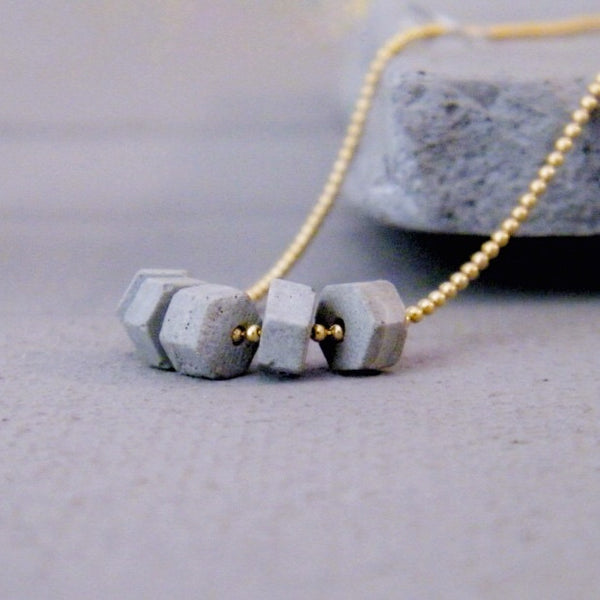 Hexagon Concrete Beads Necklace, Delicate Urban Necklace, Handmade Gold Necklace, Cement Jewelry