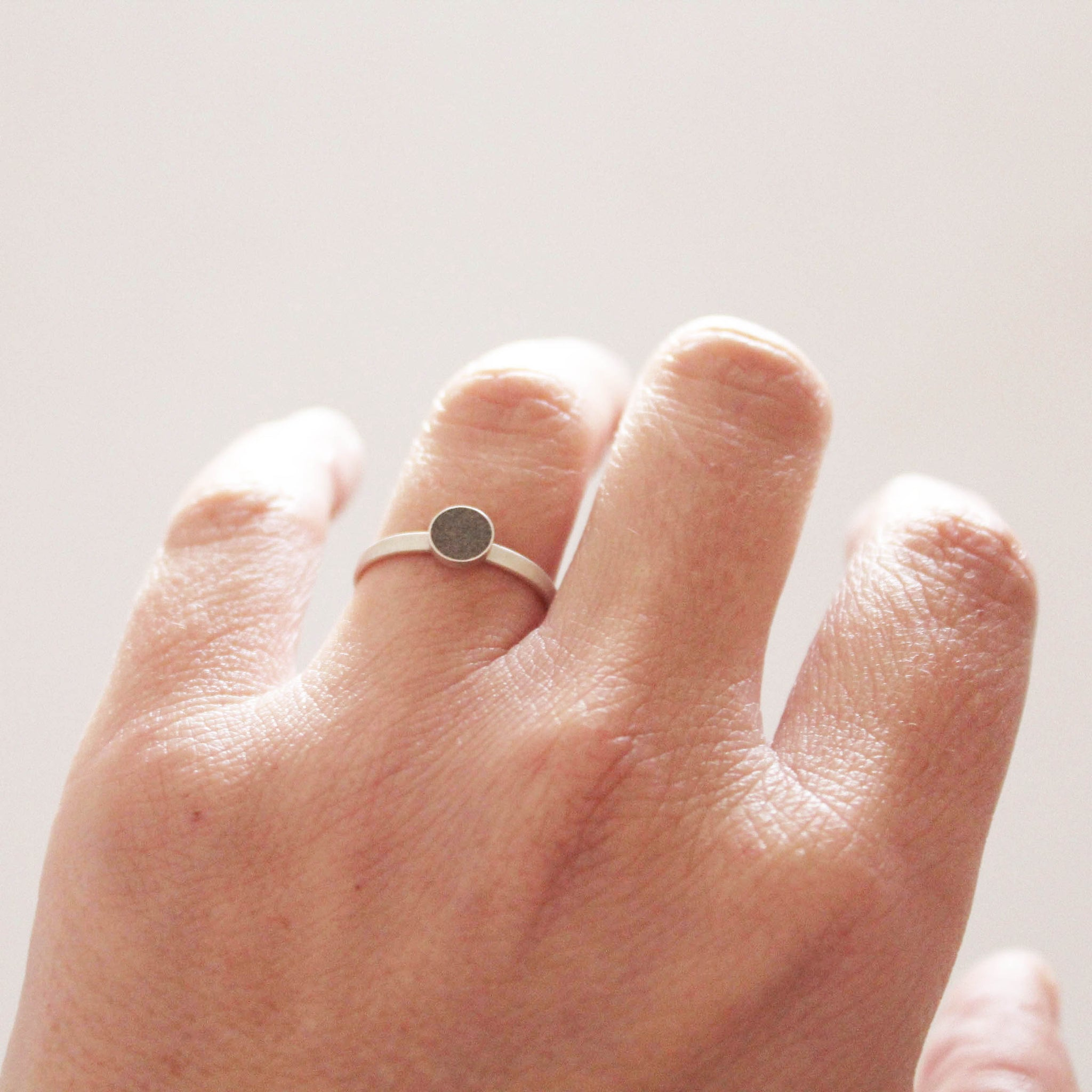 Minimal silver and concrete ring, BAARA Jewelry, little center stone  ring