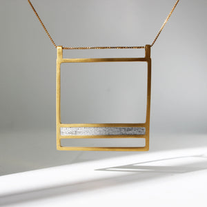 Ladder Concrete Necklace, by BAARA Jewelry. Gold Concrete Necklace, Geometric Necklace, Gold Statement Necklace, Delicate Pendant, Lond God Necklace