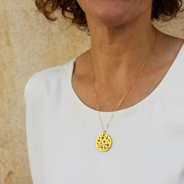 Double Sided Circles Concrete Necklae in Gold, By BAARA Jewelry, Gold and Concrete, Minimal Pendant, Constelation Necklace, Two in one Necklace, Handmade Jewelry, Concrete Jewelry