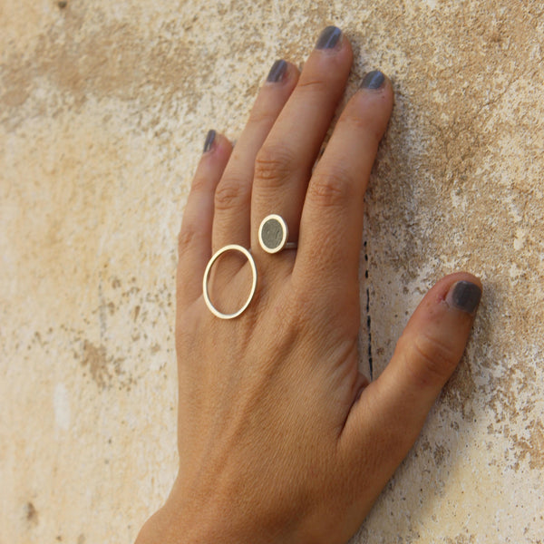 Asymmetrical Concrete Ring by BAARA Jewelry, Concrete Ring, Statement Ring, Bold Ring, Unique Ring, Silver and Concrete, Gift for Her