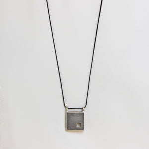 Unisex square necklace, concrete necklace for men, BAARA Jewelry
