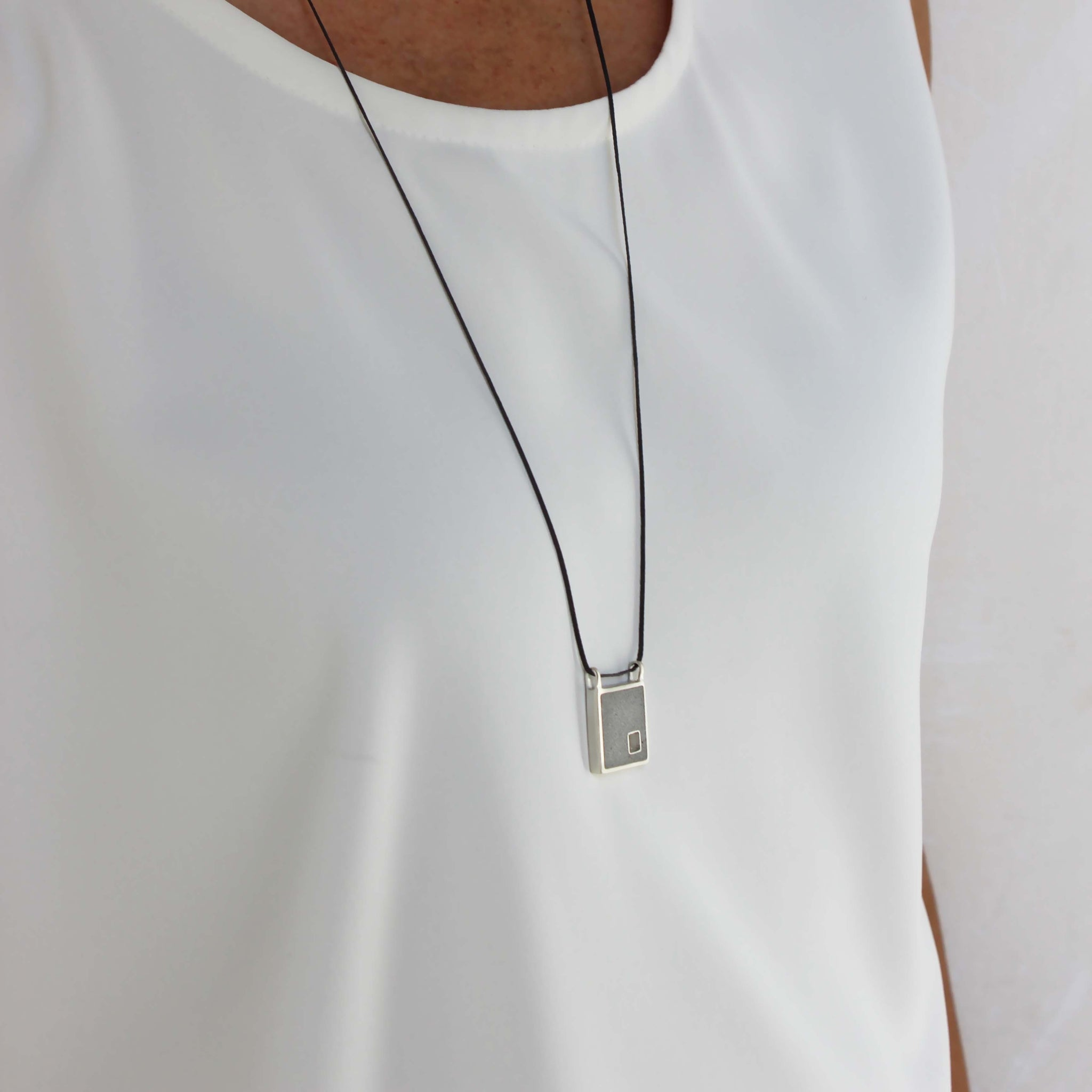 Unixes necklace, silver and concrete pendant, square pendant, BAARA Jewelry
