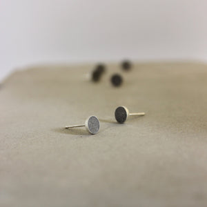 Minimal round earrings, Concrete earrings, Silver and Concrete earrings, by BAARA Jewelry, Minimalist handmade studs