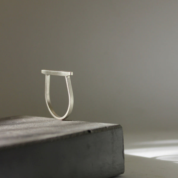 Minimal Line Ring, by BAARA Jewelry. Handmade minimal ring, stackable ring, silver minimal ring