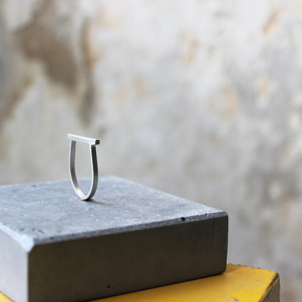 Minimalist Line Ring, by BAARA Jewelry. Short bar ring, minimal design, designer jewelry, geometric ring, minimalist ring