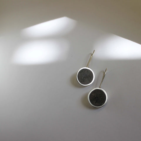 Minimal Concrete and Silver Earrings, by BAARA Jewelry, Designer Jewelry, Grey Earrings, Contemporary Jewelry, Concrete Jewelry