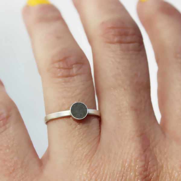 Concrete and silver ring, Stacking ring, BAARA Jewelry