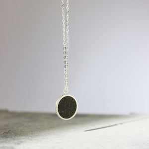 Round Silver and Concrete Necklace, by BAARA Jewelry. Layering necklace, silver necklace, delicate necklace, concrete jewelry