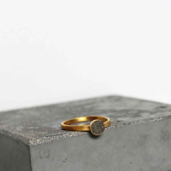 Gold and concrete ring, tiny circle ring, dainty gold ring, BAARA Jewelry