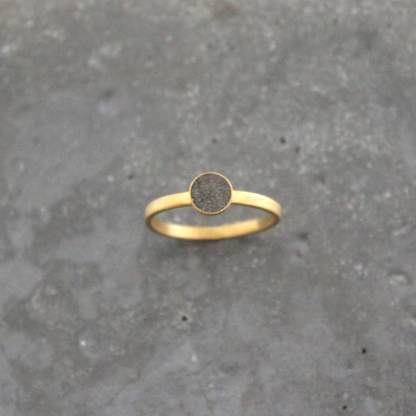 Gold and concrete ring, delicate minimal ring, stacking ring, BAARA Jewelry