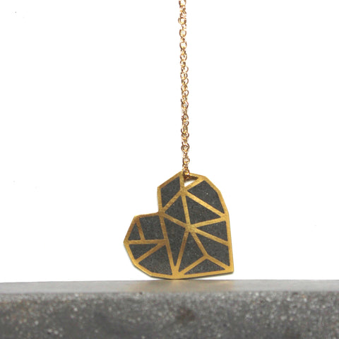 geometric heart necklace for women, Tilted Necklace, iby BAARA Jewelry