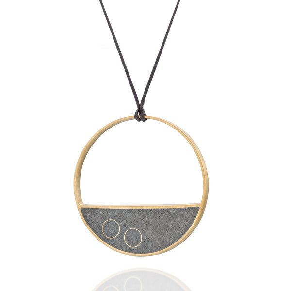 Long Statement Balance Necklace , by BAARA Jewelry. Gold Geometric Jewelry, Cement Necklace, on a black waxed cotton string