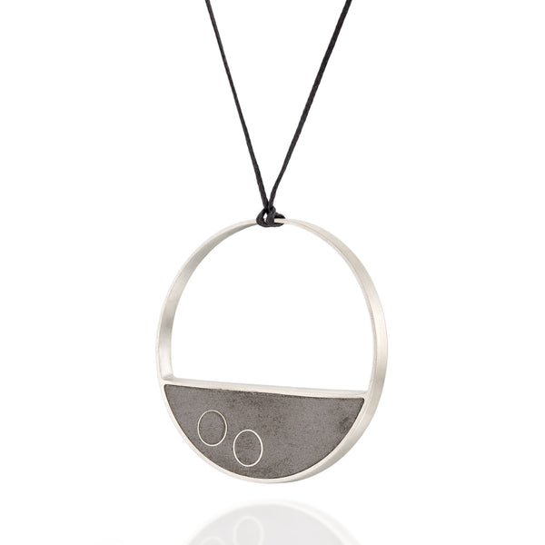Long Statement Balance Necklace , by BAARA Jewelry. Sterling Silver Geometric Jewelry, Concrete Necklace, on a black waxed cotton string, Designer Handmade Necklace
