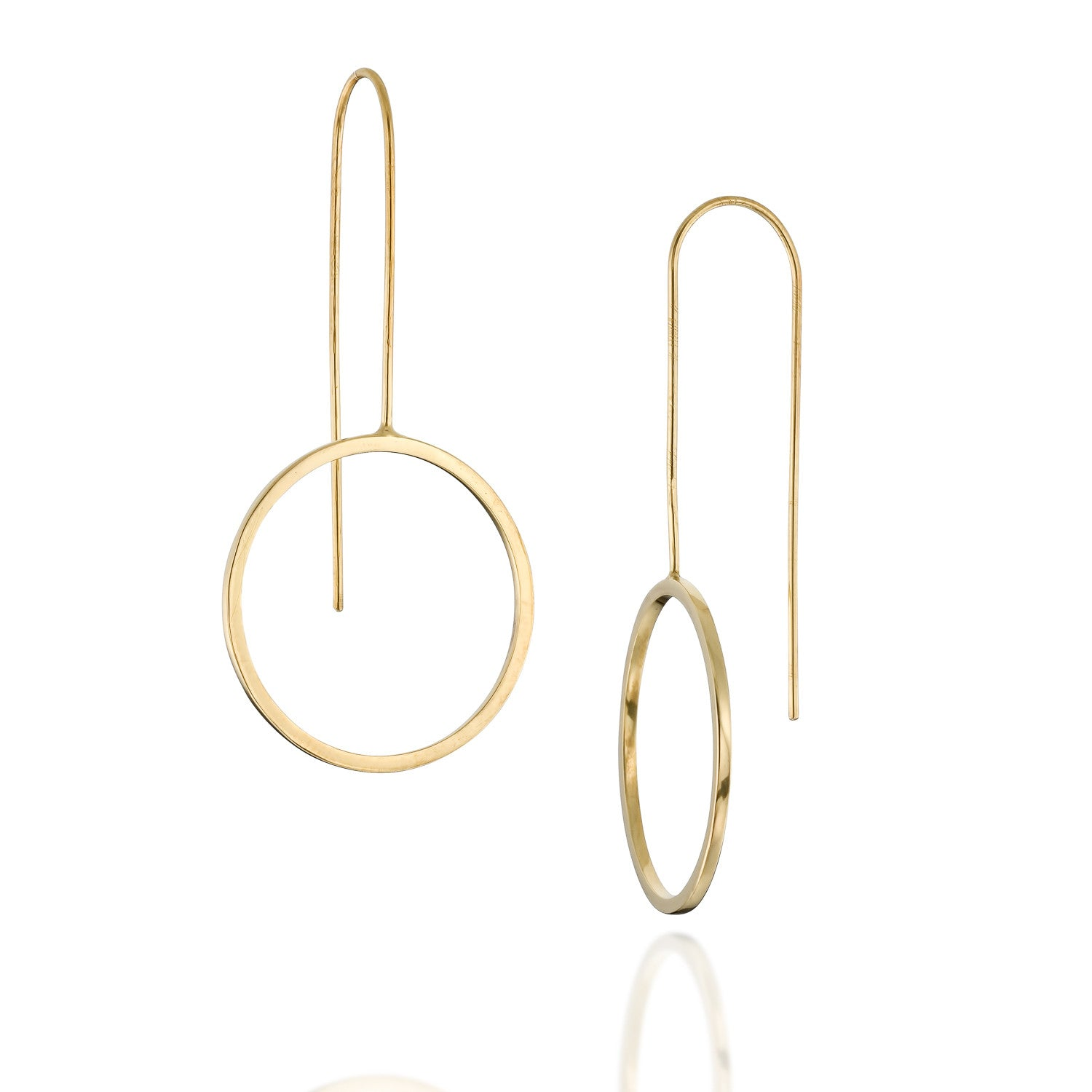 Minimalist Gold Circle Earrings, by BAARA Jewelry, Wire Circle Earrings, Long Drop Earrings, Geometric Minimal Long Gold Earrings