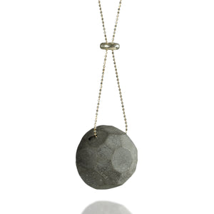 Gem Concrete Necklace, Long Statement Necklace, by BAARA Jewelry, Handmade Necklace, Cement Necklace, Grey Pendant