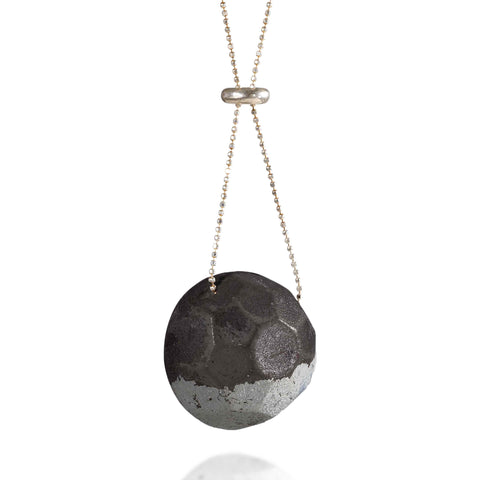 Long GEM Concrete Necklace, by BAARA Jewelry. Long Geometric Necklace, Statement Necklace, Silver and Cement Handmade Necklace