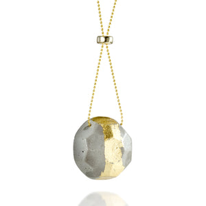 Long GEM Concrete Necklace, by BAARA Jewelry. Gold and Cement Statement Necklace, Long Impressive Necklace, Handmade Pendant, Cement and Gold, Gift for Architect