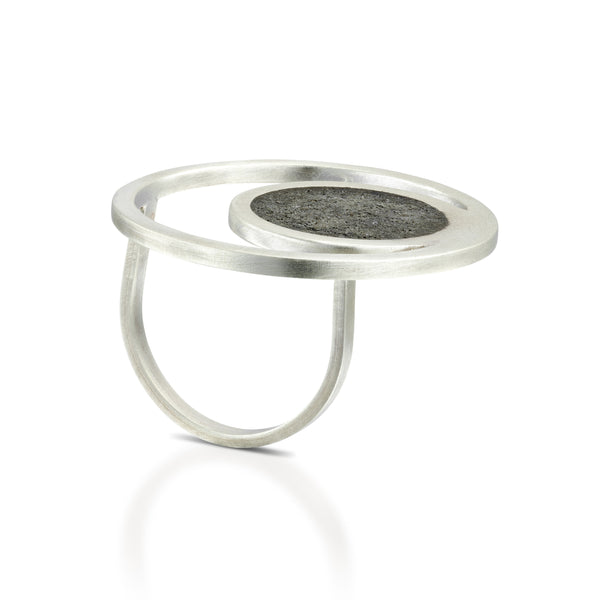 Orbit Concrete Ring, by BAARA Jewelry, Statement Ring, Silver and Concrete, Side View