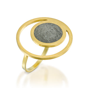 Orbit Concrete Ring, by BAARA Jewelry, Gold and Concrete Statement Ring, Designer Jewelry, Geometric Ring, Handmade, Circular Ring