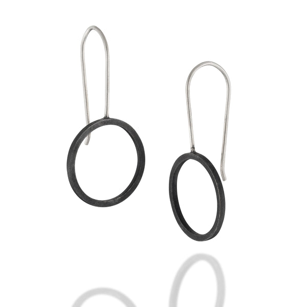 Minimalist Short Black Circle Earrings, Geometric, Blackand Gold Geometric Earrings. Sterling Silver Everyday Jewelry, Urban Jewelry