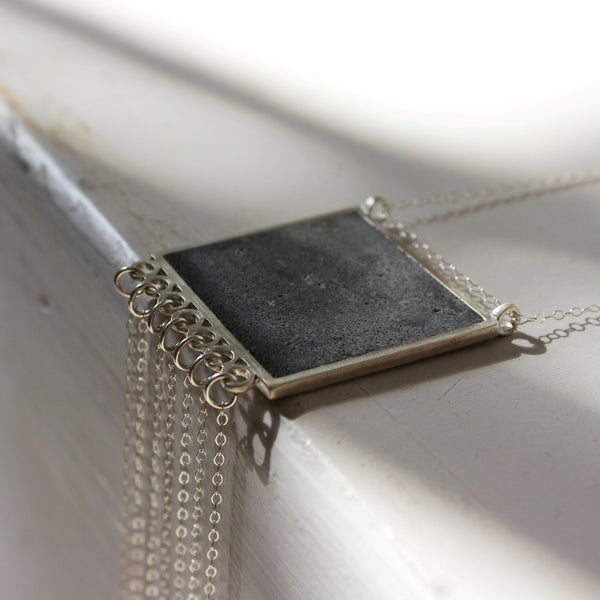 Square Fringe Concrete Necklace, by BAARA Jewelry. Elegant Necklace, Cement Statement Pendant, Silver and Concrete, Concrete Design, Designer Jewelry, Special Necklace, On of a Kind Jewelry, Statement Necklace, Tassels, Fringe Necklace, Handmade Jewelry