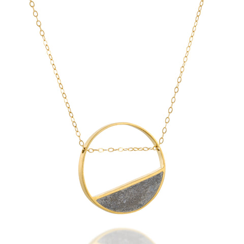 Gold Tilted Balance Concrete Necklace, BAARA Jewelry, Gold Concrete Necklace, Geometric Pendant