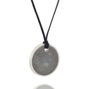 Unisex Silver and Concrete Necklace, by BAARA Jewelry. Unisex Circular Simple Pendant on a Black String