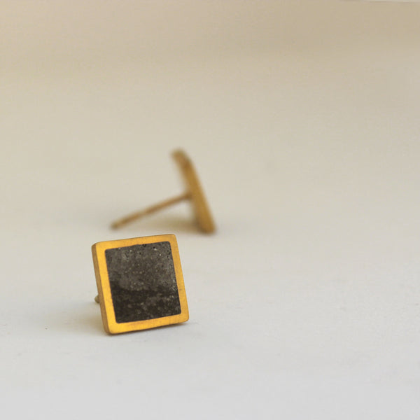 Unisex Concrete Earrings, Square Concrete Studs, Minimal Unisex Gold Earrings, by BAARA Jewelry, Handmade Unisex Studs, Gold and Concrete Studs