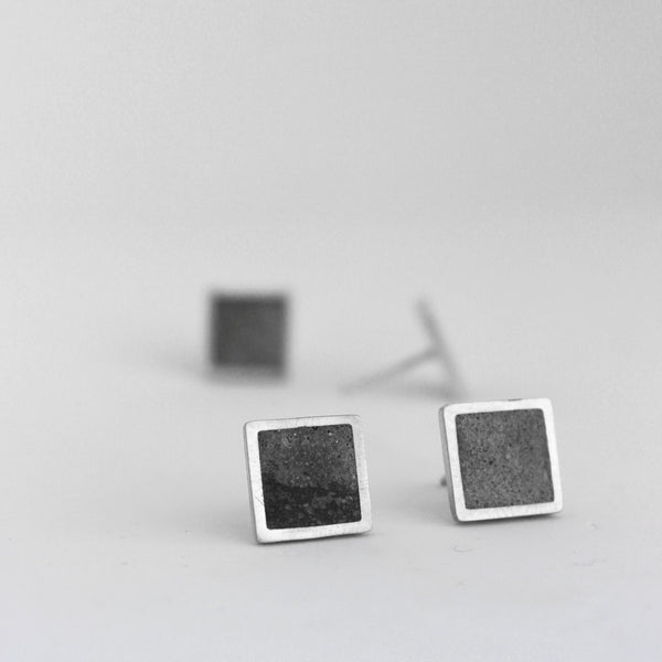 Unisex Concrete Earrings, Square Concrete Studs, Minimal Unisex Earrings, by BAARA Jewelry, Handmade Unisex Studs