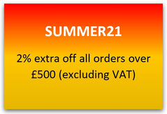 Promo code SUMMER21 2% off all orders over £500