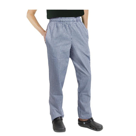 Chef Works Unisex Easyfit Chefs Trousers Small Blue Check XS