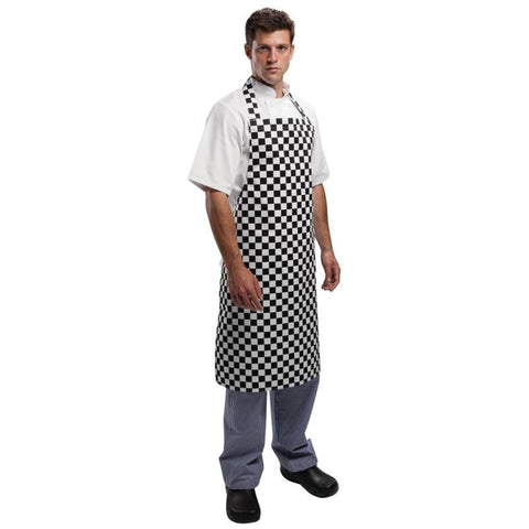 Whites Unisex Bib Apron Black and White Check