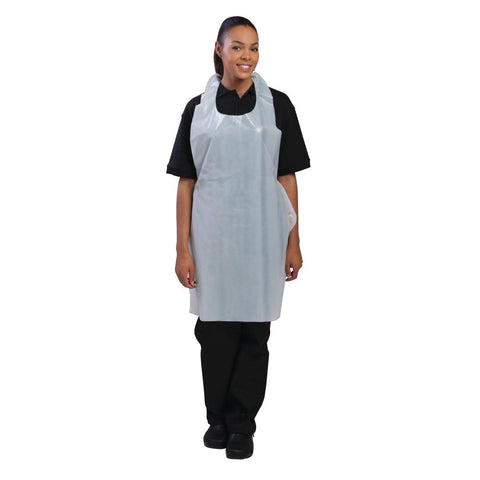 Disposable Unisex Polythene Bib Aprons White