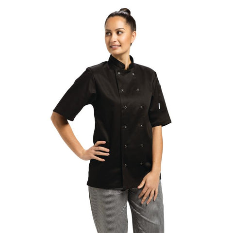 Whites Vegas Unisex Chef Jacket Short Sleeve Black - XS