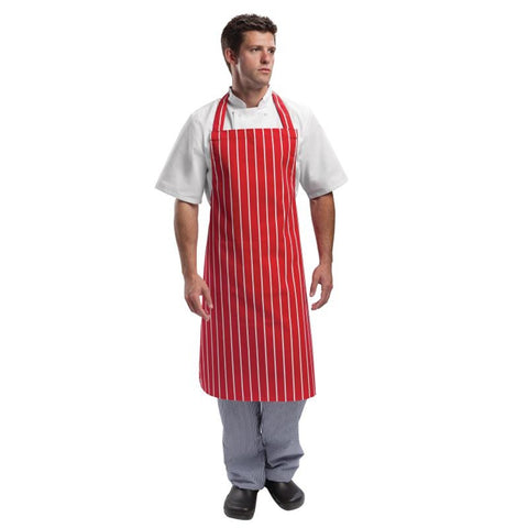 Whites Unisex Bib Apron  Red And White Stripe