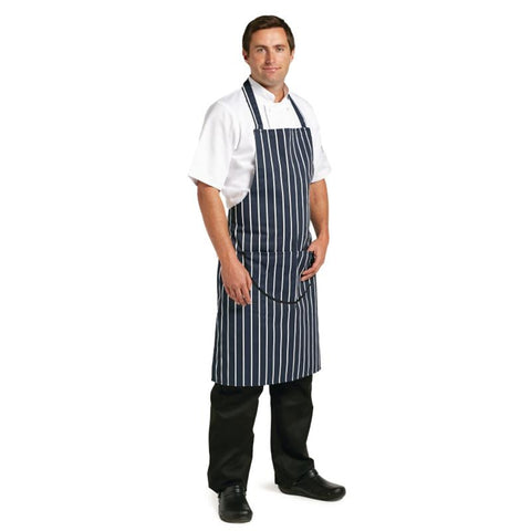 Whites Unisex Butchers Apron   Navy Stripe with Pocket