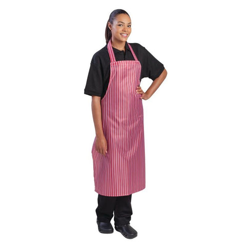 Whites Waterproof Unisex Bib Apron Red And White Stripe