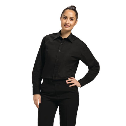 Chef Works Unisex Long Sleeve Dress Shirt Black XL